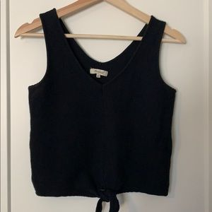Texture and thread tie front tank top